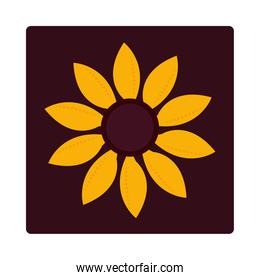 nature decoration sunflower floral nature icon block and flat
