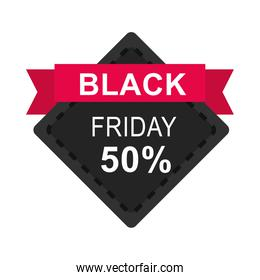 black friday, sale banner discount offer ribbon icon flat style