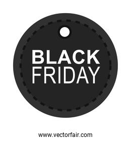 black friday, dark round tag shop announce icon flat style