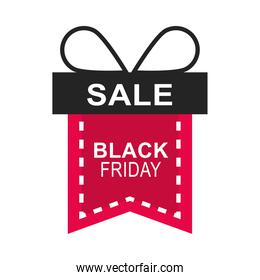 black friday, sale gift shaped ribbon sticker event icon flat style