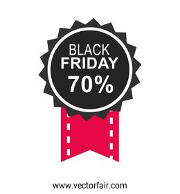 black friday, calligraphy with dark circle and ribbon icon flat style