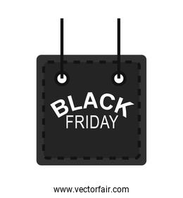 black friday, hanging board with lettering dark background icon flat style