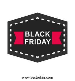 black friday, sale and discount sticker layout ribbon shape icon flat style