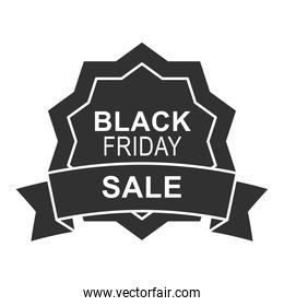 black friday, sale round banner advertising ribbon design icon silhouette style