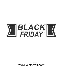 modern lettering of black friday isolated on white background icon silhouette style