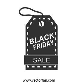 black friday, sale price tag in white background icon silhouette style