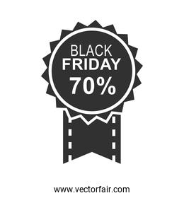 black friday, calligraphy with dark circle and ribbon icon silhouette style