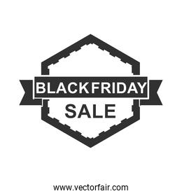 black friday, sale discount label ribbon on a white background icon silhouette style