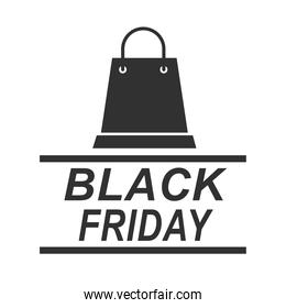 black friday, shopping bag promotion sale weekend flyer icon silhouette style