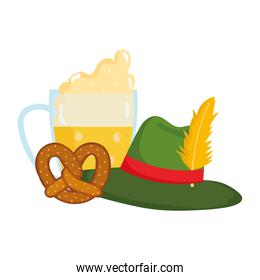 isolated beer with foam hat and pretzel, celebration germany traditional