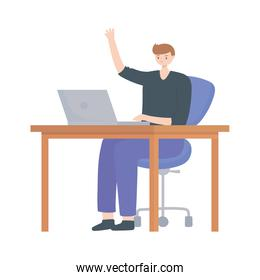 young man using laptop on desk isolated design white background
