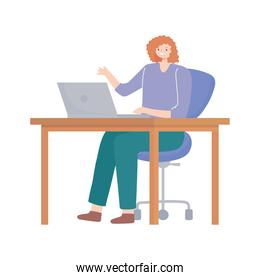 woman using laptop on desk working isolated design white background