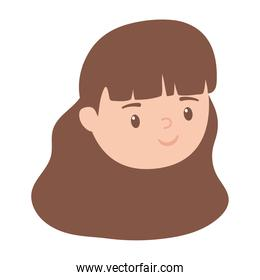 female face character woman isolated design white background