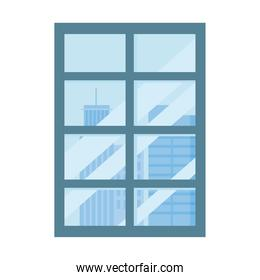 frame window city view isolated design white background