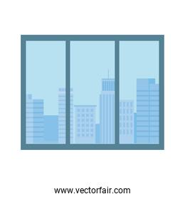 window urban city buildings view isolated design white background