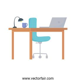 workspace desk chair laptop lamp and coffee cup isolated design white background