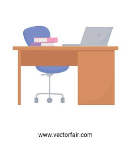 workspace office desk laptop chair and books isolated design white background