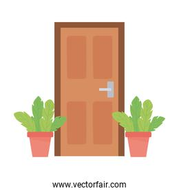home door and potted plants isolated design white background