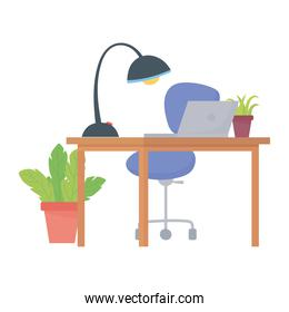 workspace office chair desk laptop lamp and plants isolated design white background