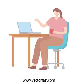 employee woman interior office desk chair and coffee cup