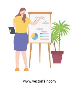 business woman working in a room with board report presentation
