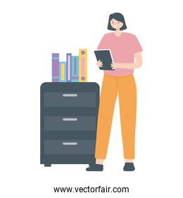 woman employee with book and cabinet office white background