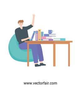 man sitting working with books on table isolated design white background