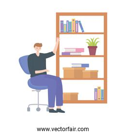 man in office with bookshelf books and workspace white background