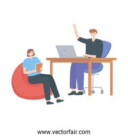 office workspace people sitting with laptop desk and coffee cup isolated design white background