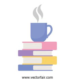 coffee cup on stack of books isolated design white background