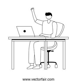 young man using laptop on desk isolated design white background line style