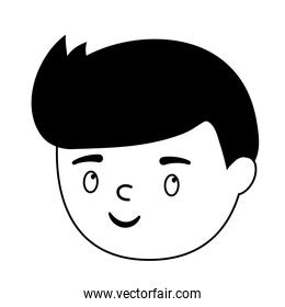 boy face character cartoon isolated design white background line style