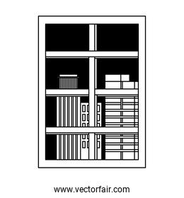 frame window city view isolated design white background line style