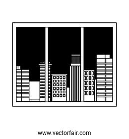 window urban city buildings view isolated design white background line style