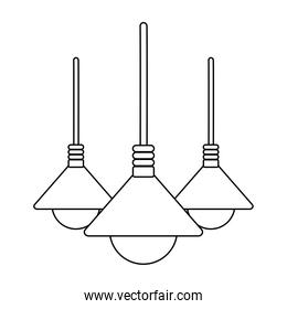 ceiling lamps bulb lights decoration isolated design white background line style