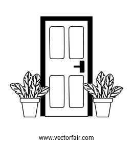 home door and potted plants isolated design white background line style