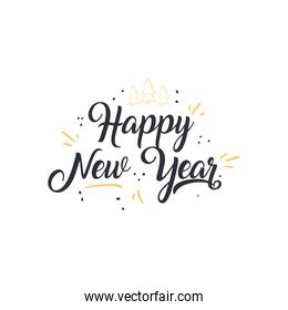 Happy new year free form style icon vector design