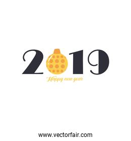 2019 Happy new year with sphere free form style icon vector design