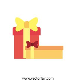 Gifts with bowties free form style icon vector design