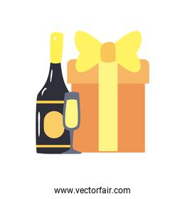 Gift champagne bottle and cup free form style icon vector design