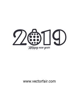 2019 Happy new year with sphere line style icon vector design