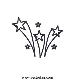 shooting stars line style icon vector design