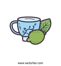 tea cup with lemon line and fill style icon vector design