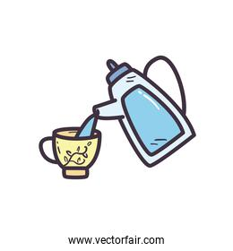 tea kettle with cup line and fill style icon vector design