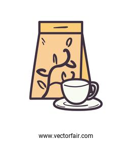 tea cup and bag line and fill style icon vector design