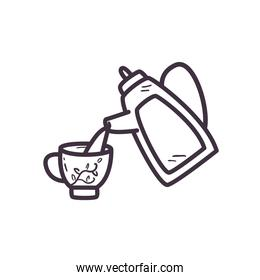 tea kettle with cup line style icon vector design