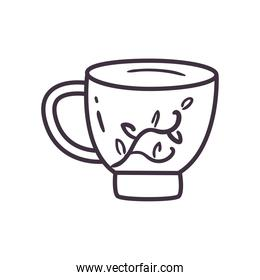 tea cup with leaves line style icon vector design