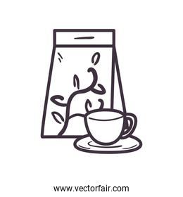 tea cup and bag line style icon vector design