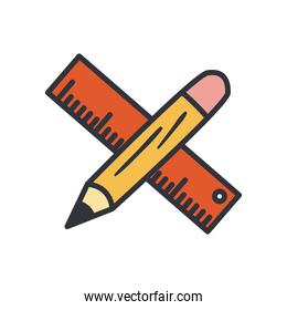 ruler and pencil line and fill style icon vector design