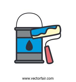 paint bucket and roll line and fill style icon vector design
